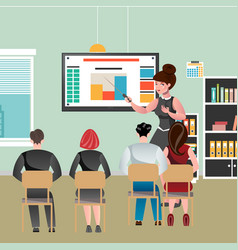 a business woman is leading a conference vector image vector image