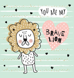 brave lion vector image vector image