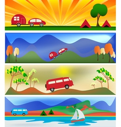 camping and caravaning vector image vector image