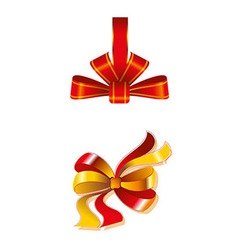 Close Up Of A Red Ribbon Bow Gift Isolated vector image vector image