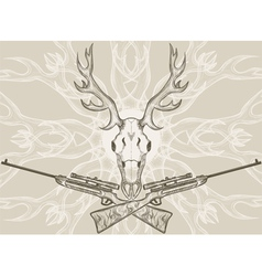 Deer skull and crossed rifles vector image vector image