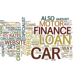 Get your motor car finance the easy way text vector