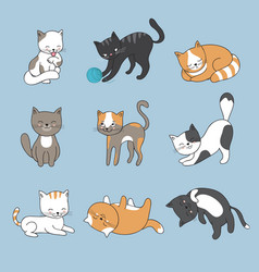 hand drawing cute cats kitty collection vector image vector image