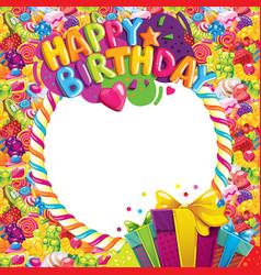 happy birthday color frame vector image