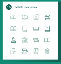16 library icons vector