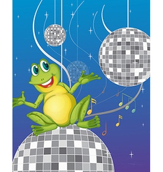 A frog sitting on a disco light vector image