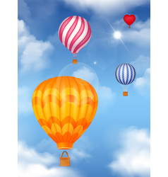 air baloons in the sky background vector image