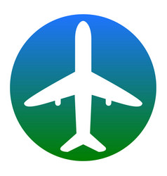 airplane sign white icon in vector image