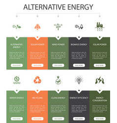 Alternative energy infographic 10 option ui design vector