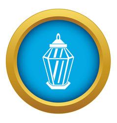 arabic lantern icon blue isolated vector image