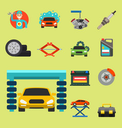 Auto car repair service symbols isolated shop vector