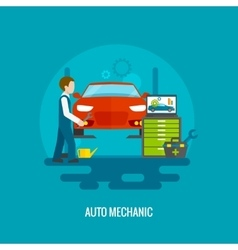 Auto Mechanic Flat vector image