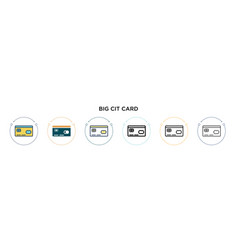 Big credit card icon in filled thin line outline vector