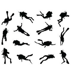 Black silhouette diver vector