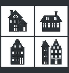Black silhouettes buildings vector