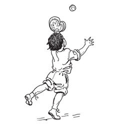 Boy catching ball vintage vector
