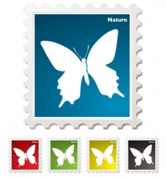 butterfly stamp vector image