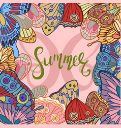 butterfly wings with summer lettering vector image