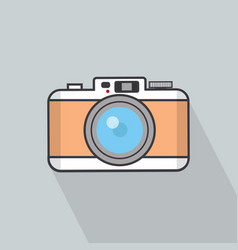 camera flat design with long shadow vector image