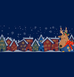 Cartoon banner for holiday theme with deer vector