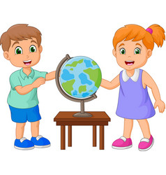 Cartoon children looking at globe on the table vector