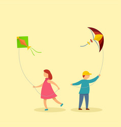 children with kites background flat style vector image