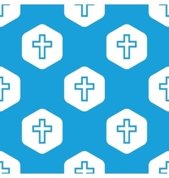 Christian cross hexagon pattern vector