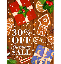 Christmas sale winter holiday gifts poster vector