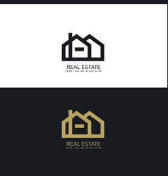 Clean line style real estate logo design concept vector