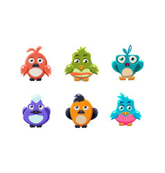cute colorful birds set cartoon glossy little vector image