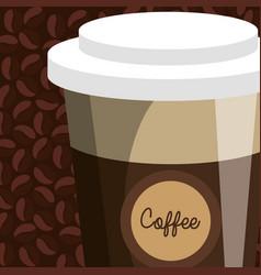 Delicious coffee in cup plastic vector