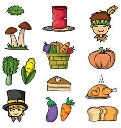 Doodle of thanksgiving vegetable set vector image