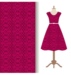 Dress fabric with pink royal pattern vector