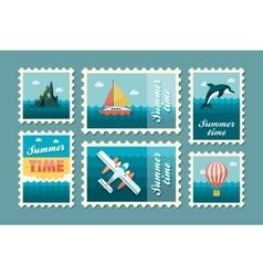 Excursion sea stamp set Summer Vacation vector
