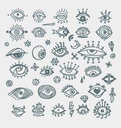 eye icons outline eyelashes and eyes symbols vector image