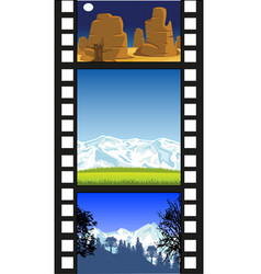 film from camera with landscape on white vector image