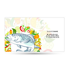 Fish meal with vegetables business card vector