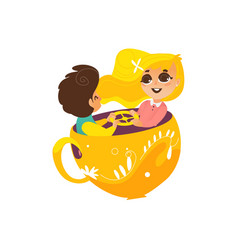 Flat boy girl in amusement park chair cup vector