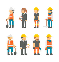 flat design building workers set vector image