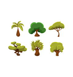 flat set of 6 green trees objects of vector image