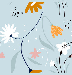 floral pattern with white flowers on a blue vector image