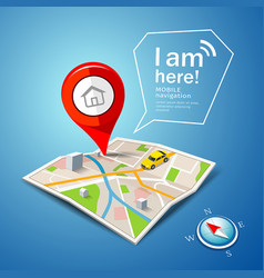 Folded maps navigation with red color point marker vector