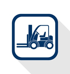 Forklift truck flat icon vector