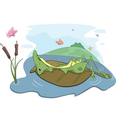 Frog on a bog vector image