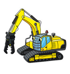 Funny small excavator with eyes coloring book vector