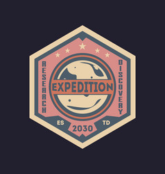 galaxy expedition vintage isolated label vector image vector image
