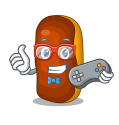 gamer mascot cartoon eclair cake color chocolate vector image