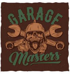 garage masters t-shirt label design vector image