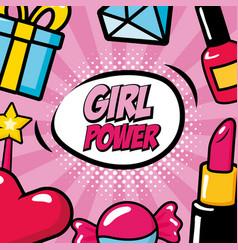 girl power pop art vector image
