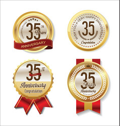 Golden badge anniversary collection 35 years vector
